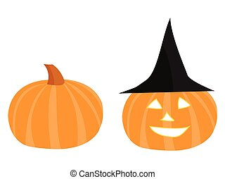 Halloween pumpkin with face and witch hat