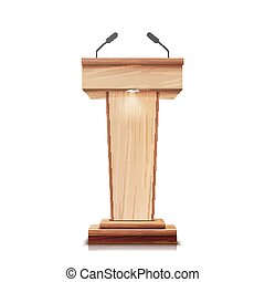 Realistic Wooden Tribune Isolated Vector. With Two Microphones. Wooden Classic Podium Stand Rostrum. Illustration