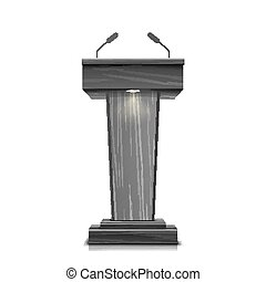 Realistic Wooden Tribune Isolated Vector. With Two Microphones. Dark Wooden Podium Stand Sign Rostrum. Illustration For The Performance Presentation Speech.