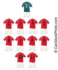 Red Football team shirts isolated on white background