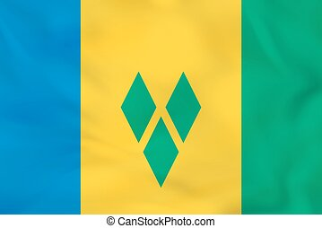 Saint Vincent and the Grenadines waving flag. Saint Vincent...