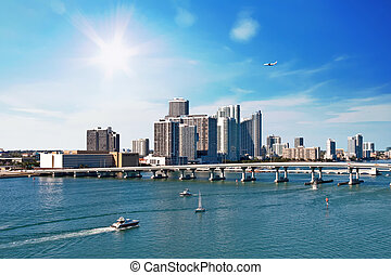 Boats and Airplane at Biscayne Bay - Miami's Biscayne Bay...