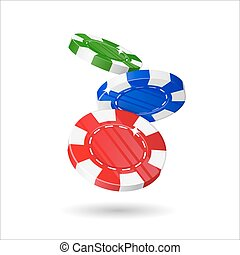 Dropping casino chips cartoon style isolated. Three dropping...