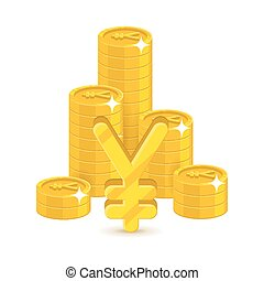 Bunch gold Chinese yuan or Japanese yen isolated cartoon....