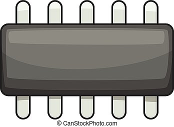 Weak microprocessor icon, cartoon style - Weak...