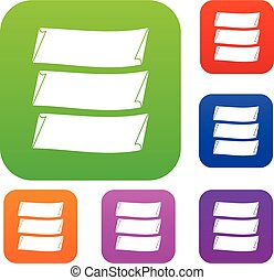 Three banners set collection - Three banners set icon in...