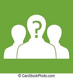 Group of people with unknown personality icon green