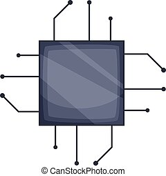 Power microprocessor chips icon, cartoon style - Power...