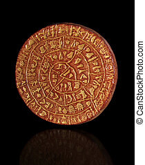 Phaistos Disc - Copy of Phaistos Disc on a black background