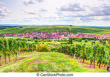 Village of Nordheim in a wine-growing district in Franconia...