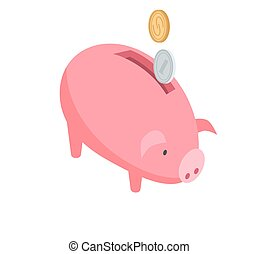 Silver and Gold Coins Falling into Pink Piggy Bank