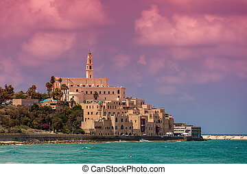 View of Old Jaffa. - View of old houses, St Peter's belfry...