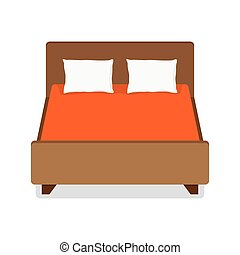 Double bed with pillow and blanket. vector illustration....
