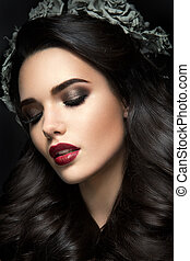 Beauty Fashion Model Girl Portrait with Grey Roses Hairstyle. Red Lips.