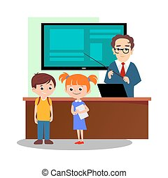 Lesson in classroom at school or college, teacher explains lesson near desk in front of students, Children stand and listen teacher, education concept vector illustration, campus life