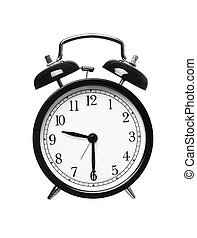 Half Past Nine - Alarm clock shows half past nine isolated...