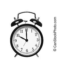 Ten o`clock - Alarm clock shows ten o`clock isolated on...