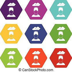 Depressed man with dark cloud over his head icon set color...