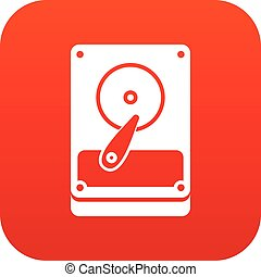 HDD icon digital red for any design isolated on white vector...