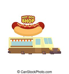 Hot dog car food truck. Fast food car. Vector illustration