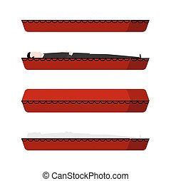coffin and dead man. wooden coffin set. Vector illustration