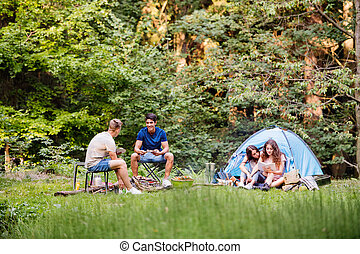 Teenagers camping in forest. Summer adventure. - Group of...