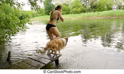 Collie dog with young girl dive into the river - Collie dog...
