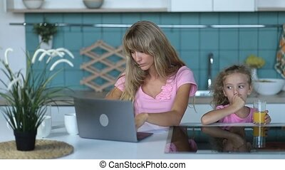 Freelancer woman working from home office - Attractive...