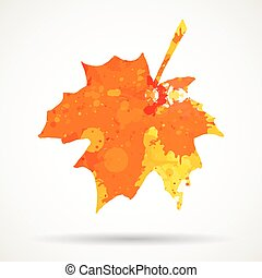 Watercolor maple leaf - Bright orange watercolor autumn...