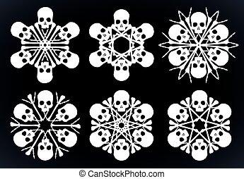 Skulls and bones jolly snowlakes - Set of vector silhouette...