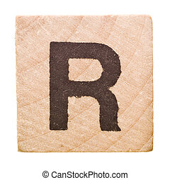 Letter R - Block with Letter R isolated on white background