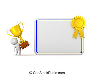 3D Character with Diploma and Trophy - 3D character with a...