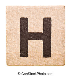Letter H - Block with Letter H isolated on white background