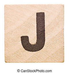 Letter J - Block with Letter J isolated on white background