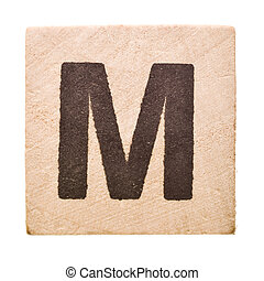 Letter M - Block with Letter M isolated on white background