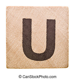 Letter U - Block with Letter U isolated on white background