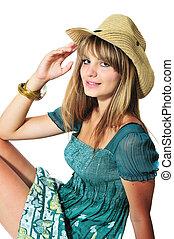 adolescente, Desgastar, menina, chapéu