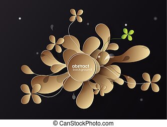 Abstract 3d paper  background with golden leafs.