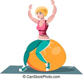 Woman working out on fitness ball. Vector illustration