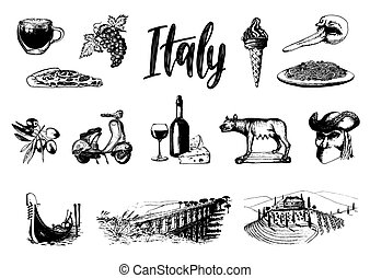Italian set of sketches. Hand drawn illustrations of Italy...