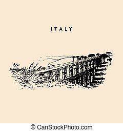 Italian landscape with roman aqueduct. Vector hand sketched...