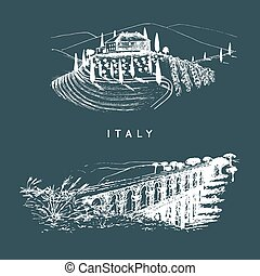 Italian landscapes set with roman aqueduct and Tuscany...