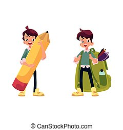 vector flat schoolboy character set isolated - vector...