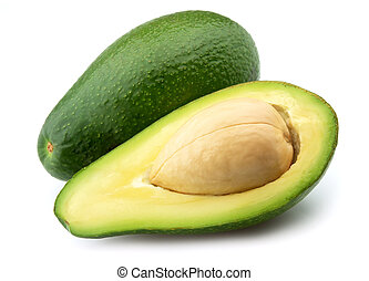 Ripe avocado on a white background