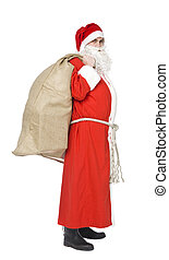 Santa Claus - Santa claus with a sack of gifts isolated on...