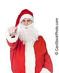 Santa Claus - Santa claus is pointing at the camera isolated...