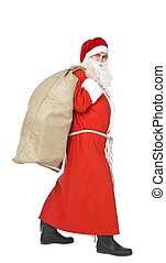 Santa Claus - Santa claus with a sack of gifts isolated on a...