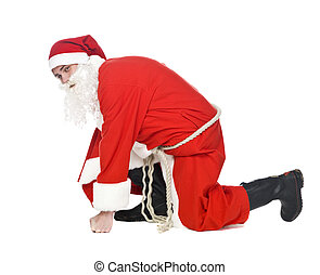 Santa Claus - Santa in running position isolated on a white...