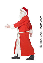 Santa Claus walking isolated on a white background