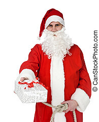 Santa Claus - Santa claus is offering a gift isolated on...